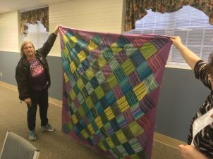 Pam's stripey quilt top