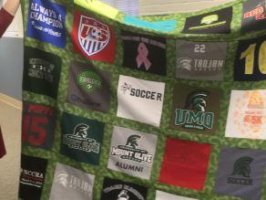 Terri-Lynne's soccer t-shirt quilt