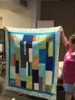 Sheila shows off quilting