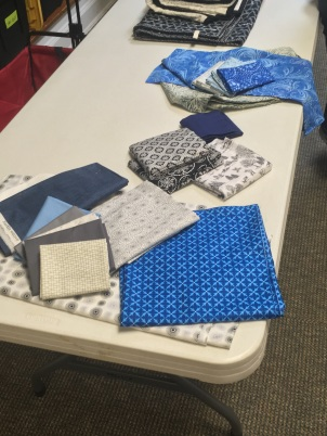 blue and gray fabrics