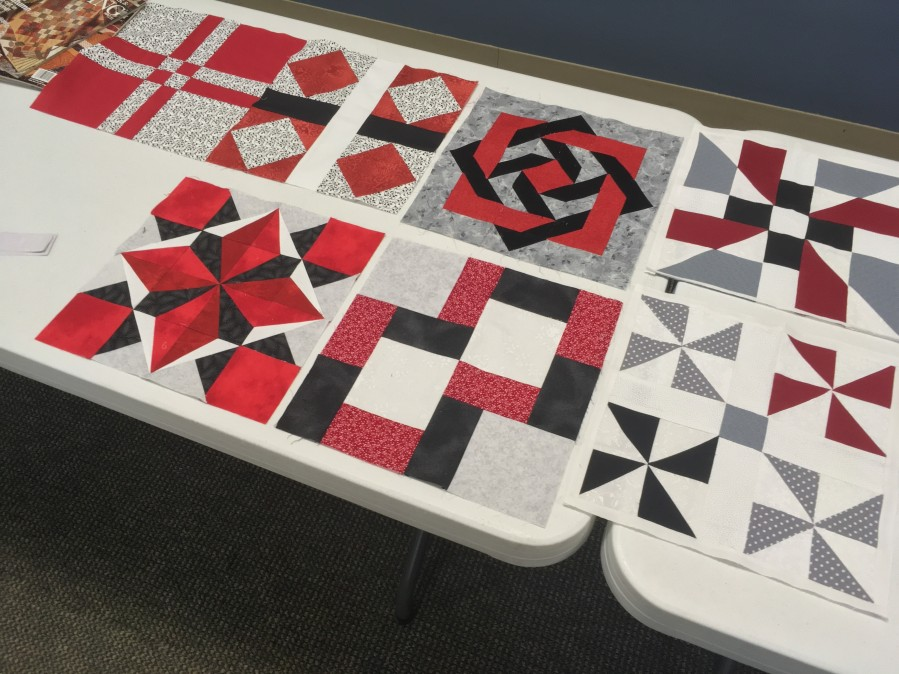 Black,red, gray quilt blocks