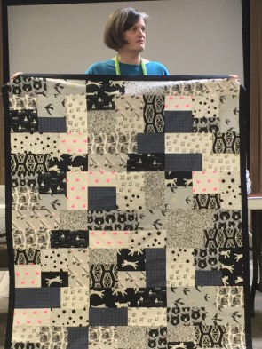 black and white quilt top