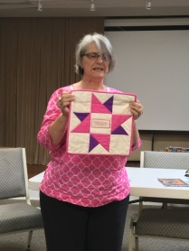 Lisa with Lupita's quilt
