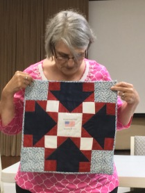 Lisa with Frank's quilt