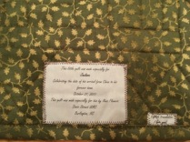 Jackson's quilt back & label