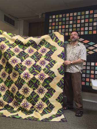 Purple-green-yellow quilt