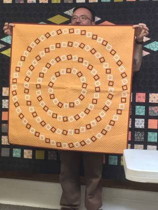 Appliqued rectangles in circles