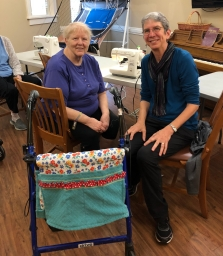 Barbara and resident with completed walker bag