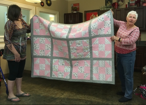 Kathy's quilt in pink and grey