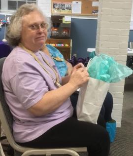 Sylvia with gift bag