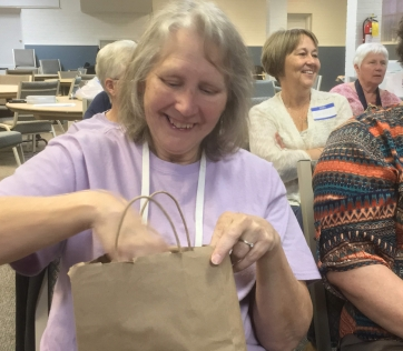 Gail with gift bag