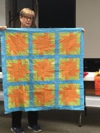 orange and green quilt
