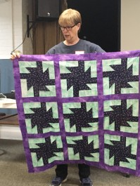 purple and navy quilt