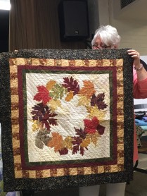 autumn quilt with leaves