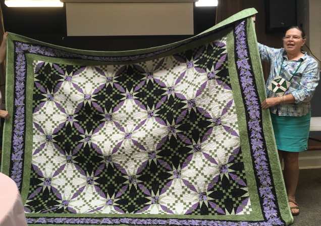 green and purple quilt