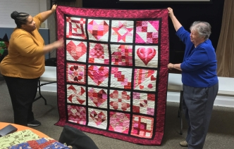 heart-themed quilt
