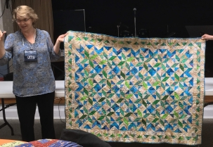 blue and green quilt