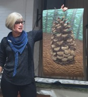 Quilt showing pine cone