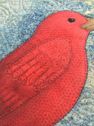 Closeup of bird quilt