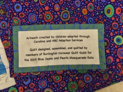 label on back of quilt