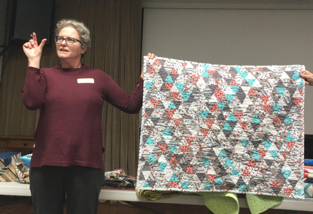 Joan's quilt made with tiny ruler