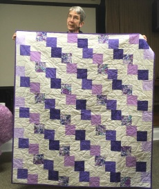 Purple squares quilg