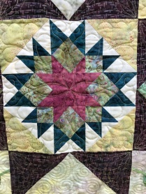 Closeup of quilted block