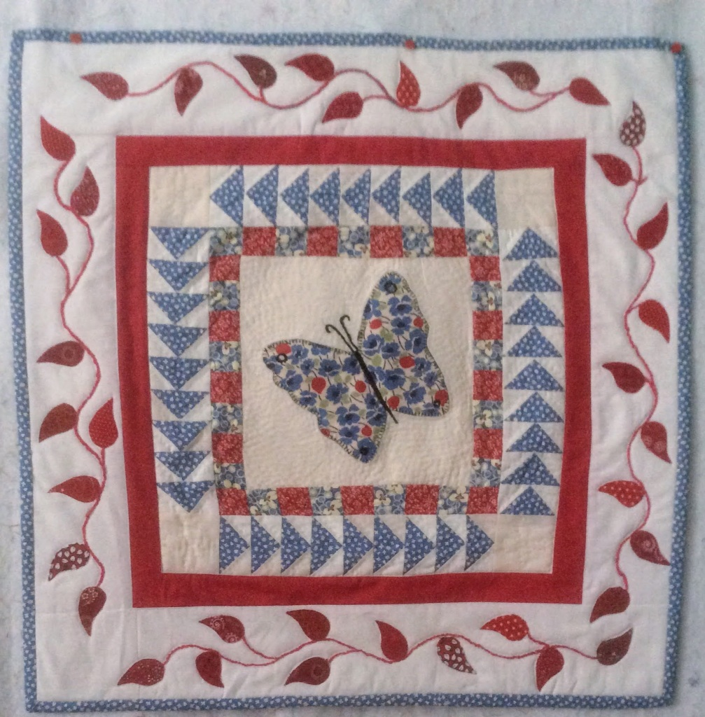 butterfly quilted wall hanging